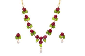 ROYAL & ELEGANT FLOWER LEAF JADE CORAL NECKLACE SET WITH EARRINGS(RED GREEN) - PC