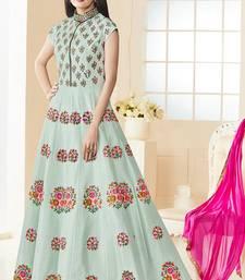 Buy Sky blue embroidered bangalore silk salwar with dupatta bollywood-salwar-kameez-online online