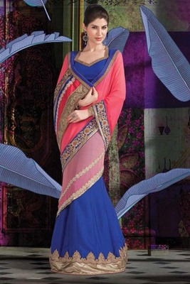 Pink & Royal Blue georgette designer saree with pearl work-SR5747