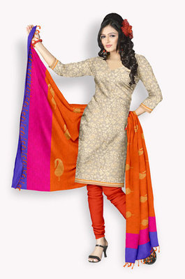 Tussar Salwaar Kameez With Resham Embroidery & Zari Embroidery (Fabric Only) - E0301014