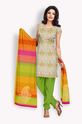 Tussar Salwaar Kameez With Resham Embroidery & Zari Embroidery (Fabric Only) - E0301070
