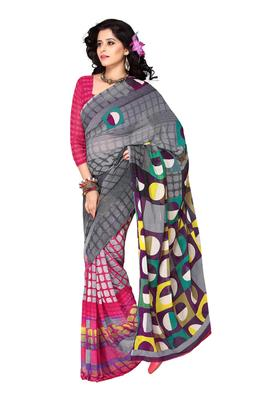 Grey & Pink Colored Faux Georgette Printed Saree