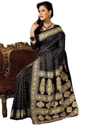 Black  Colored Cotton Printed Saree