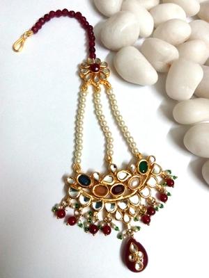 kundan maang tikka with ruby and pearl