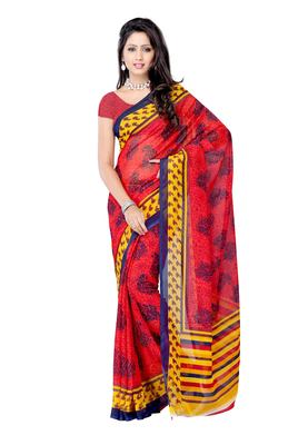 Petra Fab Red Colored Georgette Printed Saree