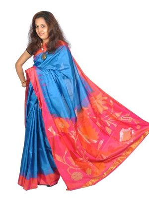 Blue hand_woven Silk silk-sarees With Blouse