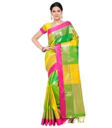 Buy Multicolor woven katan silk saree with blouse traditional-saree online