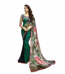 Buy Green printed georgette saree with blouse fancy-saree online