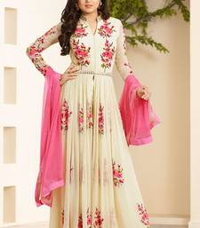 Buy Cream embroidered georgette salwar with dupatta salwar-kameez-below-2000 online