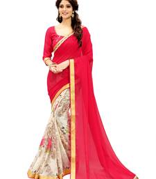 Buy Red printed faux georgette saree with blouse below-1500 online