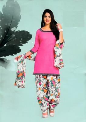 Fabulous Pink Printed Cotton Patiyala Dress Material D.No PD701