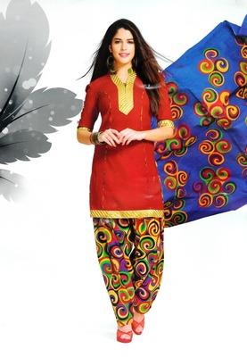 Dazzling Red Printed Cotton Patiyala Dress Material D.No PD703