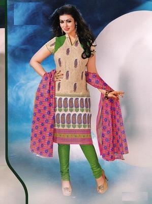 Fabulous Cream  Printed Cotton Dress Material D.No DP2349
