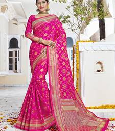 Buy Pink woven pochampally saree with blouse pochampally-saree online