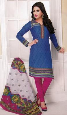 Beautiful Blue Printed Cotton  Dress Material D.No LS4556