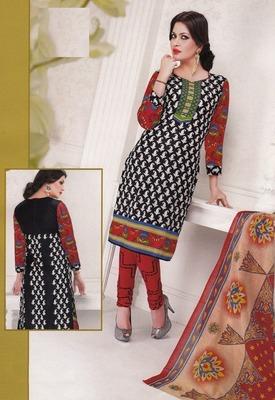 Radiant Black Printed Cotton  Dress Material D.No LS4559