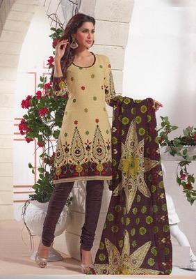 Fabulous Cream Printed Cotton  Dress Material D.No SU2613
