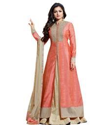 Buy Peach embroidered raw silk salwar with dupatta anarkali-salwar-kameez online