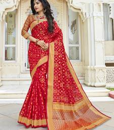 Buy Red woven pochampally saree with blouse pochampally-saree online