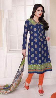 Trendy Royal Blue Printed Cotton  Dress Material D.No LS4576