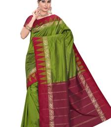 Buy Dark moss green plain pure mix saree with blouse kanchipuram-silk-saree online