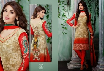 Trendy Brown & Red Embroidered Crape Dressmaterial