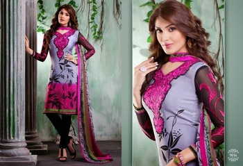 Trendy Grey, Pink & Black Embroidered Crape Dressmaterial