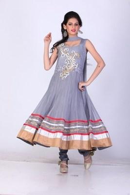 Festival and Party Wear Grey  Net Readymade Anarkali Churidar Kameez with Dupatta