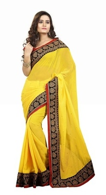 Yellow Border Worked Faux Georgette Saree With Blouse