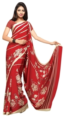 Red Printed Crape Saree With Blouse