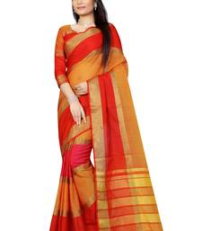 Buy Red plain silk saree with blouse below-1500 online