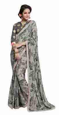 Grey Printed Shimmer,Satin Saree With Blouse