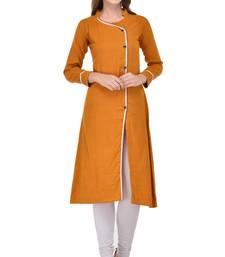 Buy Yellow plain rayon short-kurtis short-kurtis online