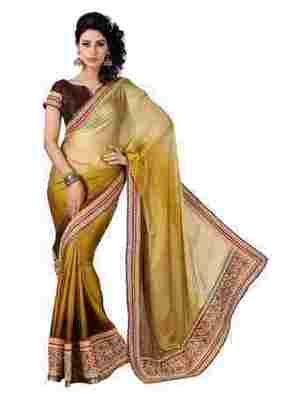 Golden Border Worked Satin,Chiffon Saree With Blouse
