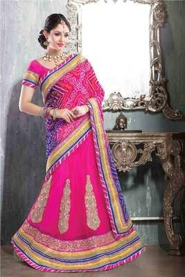 Pink net & georgette combo saree in multi colour printed pallu