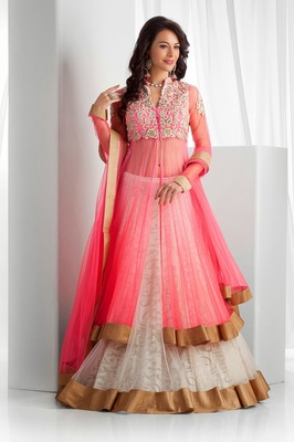White embroidered net unstitched lehenga with dupatta