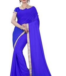 Buy Blue plain lycra saree with blouse below-400 online