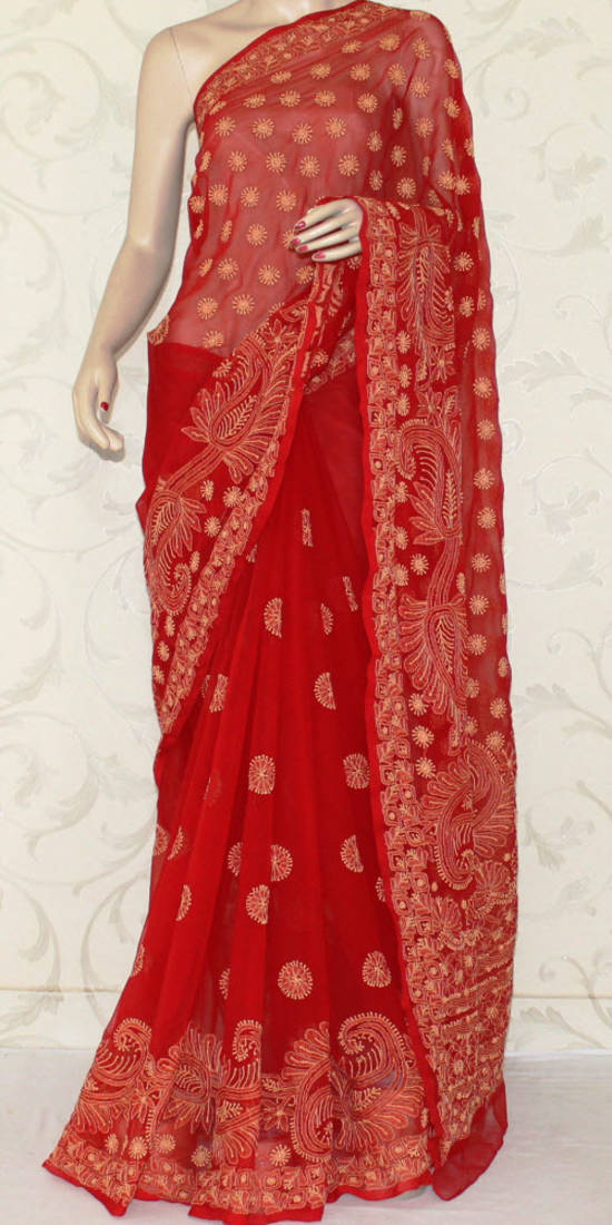 Buy Hand Embroidered Lucknowi Chikankari Saree With