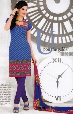 Trendy Blue Printed Crepe Unstitched Dress Material D.No AN7005