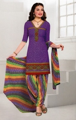 Fabulous Purple Printed Crepe Unstitched Dress Material D.No AN8009