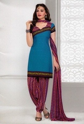 Beautiful Blue Printed Crepe Unstitched Dress Material D.No AN8012