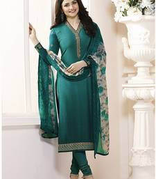 Buy Turquoise embroidered crepe salwar with dupatta bollywood-salwar-kameez-online online