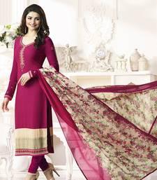 Buy Pink embroidered crepe salwar with dupatta bollywood-salwar-kameez-online online