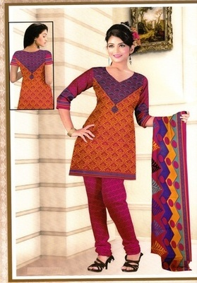 Radiant Orange Printed Crepe Unstitched Dress Material D.No BB209