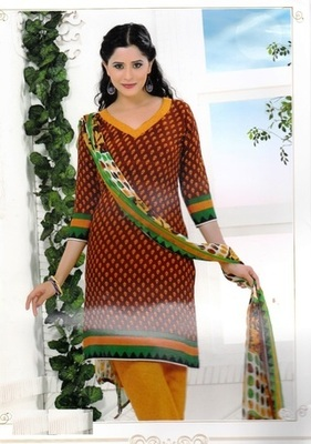 Fabulous Brown Printed Crepe Unstitched Dress Material D.No RR3403