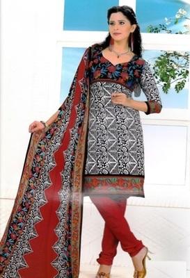 Radiant Multi Color Printed Crepe Unstitched Dress Material D.No RR3409