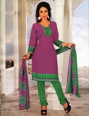 Radiant Purple Printed Crepe Unstitched Dress Material D.No SA8003