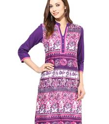 Buy Jaipur Kurti Pure Cotton Abstract 3/4th Sleeves Purple Kurti kurtas-and-kurti online