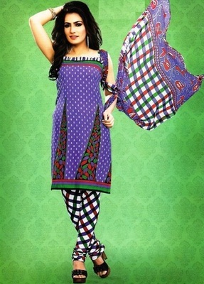 Beautiful Blue Printed Crepe Unstitched Dress Material D.No SA9007