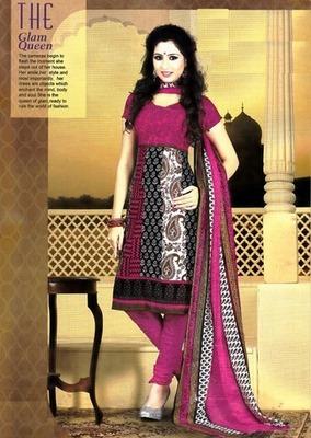 Fabulous Multi Color Printed Crepe Unstitched Dress Material D.No T27011